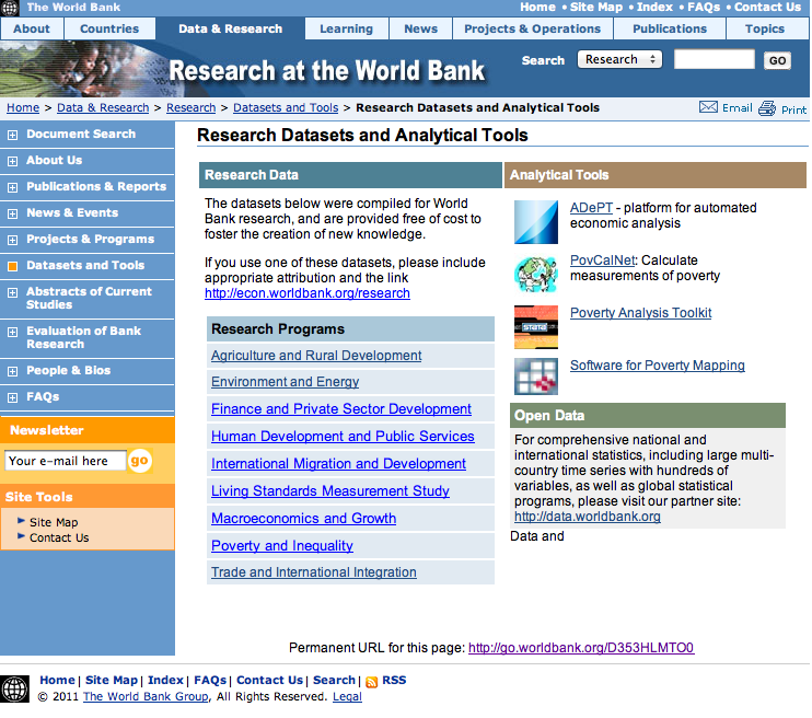 World Bank Research Datasets | Research News